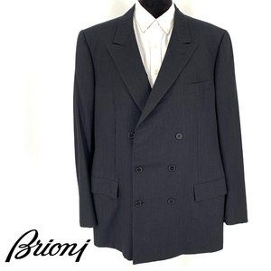 Brioni Black Double Breasted Herringbone Coat 60